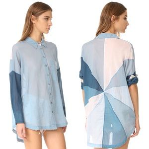 Free People Ray of Sunshine Button Down Shirt XS